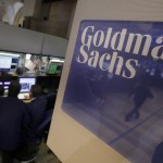 Goldman Sachs shares fall the most in 16 1/2 weeks on Monday as first-quarter revenue shrinks, profit tops estimates on lower expenses