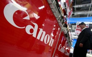 A logo of Canon Inc is pictured at an electronics store in Tokyo